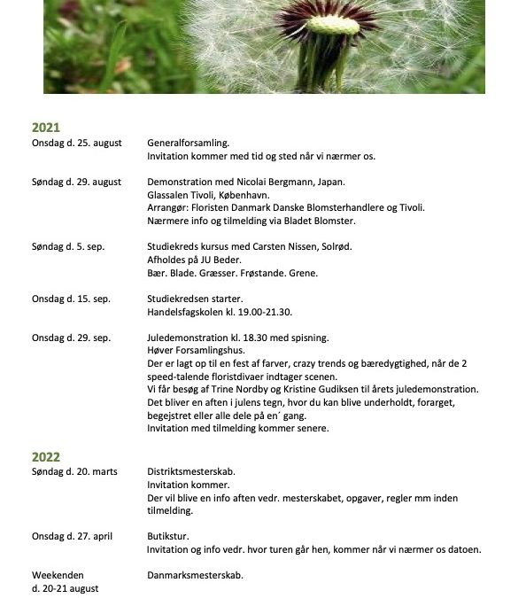 Kalender Aarhus Afd: 2021-2022